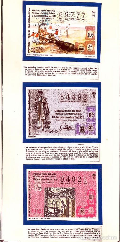 Tauromaquia: 1971.- COLECCION CTA. CON LOS 40 DECIMOS TEMA LA TAUROMAQUIA. CON DESCRIPCIONES DE LOS TEMAS. - Foto 14 - 130991972