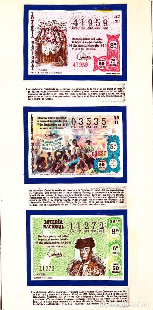 Tauromaquia: 1971.- COLECCION CTA. CON LOS 40 DECIMOS TEMA LA TAUROMAQUIA. CON DESCRIPCIONES DE LOS TEMAS. - Foto 15 - 130991972