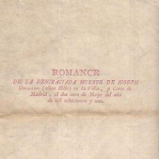 Tauromaquia: ROMANCE DE LA DESGRACIADA MUERTE DE JOSEPH DELGADO, HILLO. EJEMPLAR DE ANTONIO ORDOÑEZ ARAUJO. LEER.. Lote 133699666