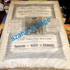 Tauromaquia: MADRID, 1919, CARTEL DE SEDA, DESPEDIDA DE COCHERITO DE BILBAO, JOSELITO EL GALLO Y BELMONTE. Lote 133741998