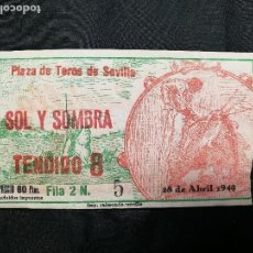 Tauromaquia: ENTRADA TOROS PLAZA MAESTRANZA SEVILLA SOL Y SOMBRA 1949. Lote 133812270