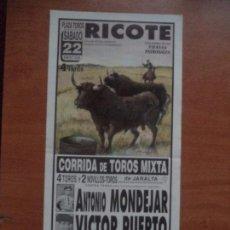 Tauromaquia: CARTEL. RICOTE. 22-ENERO-2000. MONDEJAR, PUERTO Y SAAVEDRA.. Lote 134444738