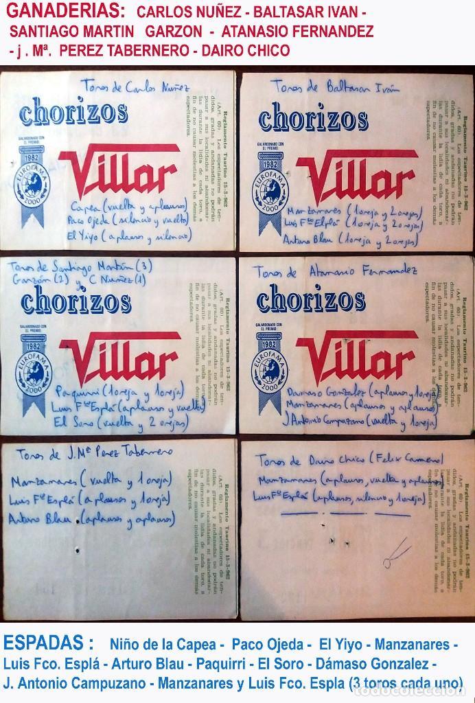Tauromaquia: AÑO 1983.-LOTE de 6 ENTRADAS DE LA PLAZA DE.TOROS DE ALICANTE CON DIFERENTES DIAS, EN REV.Resultados - Foto 2 - 136061034