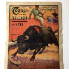 Tauromaquia: PROGRAMA TOROS, PLAZA VALENCIA FERIA 1944 , MANOLETE, BARRERA, BELMONTE , ORIGINAL. Lote 136683514