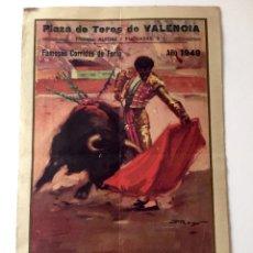 Tauromaquia: PROGRAMA TOROS, PLAZA VALENCIA FERIA 1949, LITRI, ORDOÑEZ, APARICIO, ORIGINAL. Lote 136683810