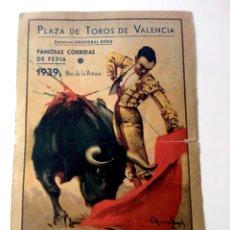 Tauromaquia: PROGRAMA TOROS, PLAZA VALENCIA FERIA 1939, BARRERA, BIENVENIDA, ORTEGA, ORIGINAL. Lote 136683990