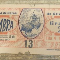 Tauromaquia: SEVILLA, 15 JUNIO 1947, ENTRADA TOROS REAL MAESTRANZA. Lote 136732522