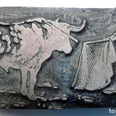 Tauromaquia: GRABADO TEMA TOROS, SOBRE METAL Y MADERA, IMPRESION PARA CARTELES, IMPRENTA , MUY ANTIGUO , ORIGINAL. Lote 140011258