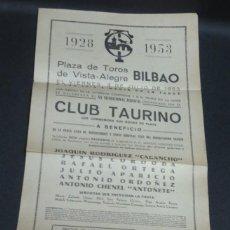 Tauromaquia: CARTEL BODAS DE PLATA CLUB TAURINO PLAZA DE TOROS VISTA-ALEGRE BILBAO 1928-1953. Lote 140133758