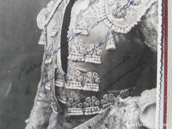 Tauromaquia: 1946 Juanito Bienvenida. Foto dedicada y firmada por el torero en 1946 - Foto 3 - 140745866