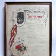Tauromaquia: SERAFÍN VIGIOLA, TORQUITO CARTEL ENMARCADO 71,5X47,5 CMS. LIMA, 1922 BANQUETE HOMENAJE AL TORERO . Lote 140870286