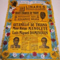 Tauromaquia: TAPETE, BANDERÍN, CARTEL DE TELA, MUERTE DE MANOLETE, 28 AGOSTO 1947, PLAZA DE TOROS DE LINARES. Lote 141435494