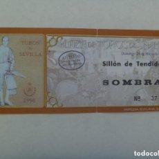 Tauromaquia: ENTRADA PLAZA DE TOROS DE SEVILLA : SILLON DE TENDIDO SOMBRA . 1998.. Lote 142919166