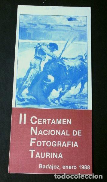 BASES CONCURSO FOTOGRÁFICO II CERTAMEN NACIONAL FOTOGRAFIA TAURINA -BADAJOZ 1988 AG. EXTREMEÑA TOROS (Coleccionismo - Tauromaquia)