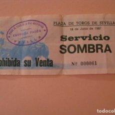 Tauromaquia: ENTRADA DE TOROS. SEVILLA. 18 JUNIO 1987. DETRÁS ESCRITA.. Lote 143887654