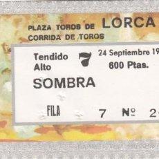 Tauromaquia: ENTRADA PLAZA TOROS DE LORCA 1978 / CORRIDA DE TOROS. Lote 144228778
