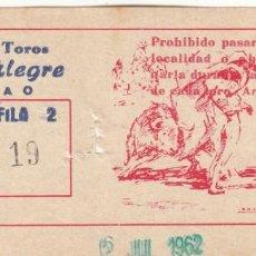 Tauromaquia: ENTRADA PLAZA TOROS VISTA ALEGRE DE BILBAO 1962 / CORRIDA DE TOROS. Lote 144231490
