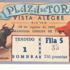 Tauromaquia: ENTRADA PLAZA TOROS VISTA ALEGRE DE BILBAO 1963 / CORRIDA DE TOROS. Lote 144232006