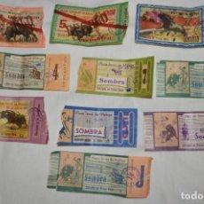Tauromaquia: LOTE 10 ENTRADAS PARA LOS TOROS - MUY ANTIGUAS - MÁLAGA - AÑOS 60 - PUBLICIDAD CERVEZAS VICTORIA -L1. Lote 145008978