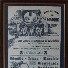 Tauromaquia: MANOLETE. CARTEL BENEFICENCIA EN TELA DE 1946. Lote 146550594