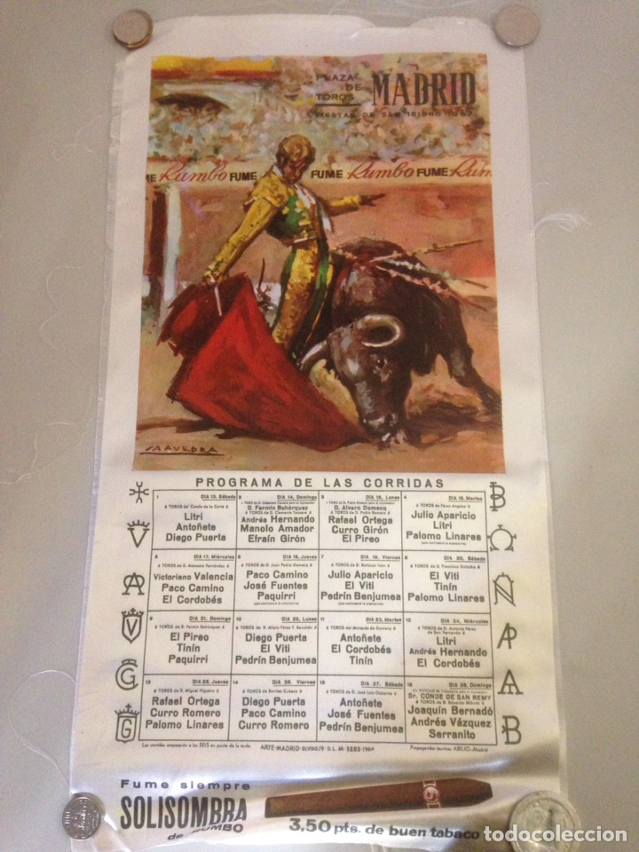 CARTEL TAURINO - PLAZA DE TOROS MADRID - FIESTA DE S ISIDRO 1967 (Coleccionismo - Tauromaquia)