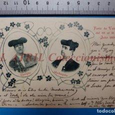 Tauromaquia: VALENCIA - POSTAL TOROS TOREROS CONEJITO Y MACHAQUITO - POSTAL FOTOGRAFICA - AÑO 1902. Lote 148271106