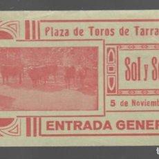 Tauromaquia: ENTRADA - PLAZA DE TOROS DE TARRAGONA - SOL Y SOMBRA - 1933 - ENTRADA GENERAL. Lote 148925522