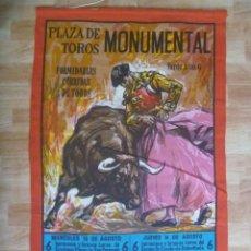 Tauromaquia: CARTEL DE TOROS EN TELA M, PLAZA MONUMENTAL ( DE BARCELONA ): EL VITI, EL CORDOBES . AÑOS 60. Lote 149413010