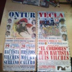 Tauromaquia: 2 CARTELES DE TOROS DE 2001 DE PUEBLOS DE MURCIA Y ALBACETE : YECLA Y ONTUR. Lote 152084913
