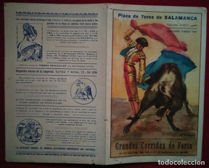 1949 Díptico plaza de toros de Salamanca 27,2 x 21 Programa de mano - 115626623