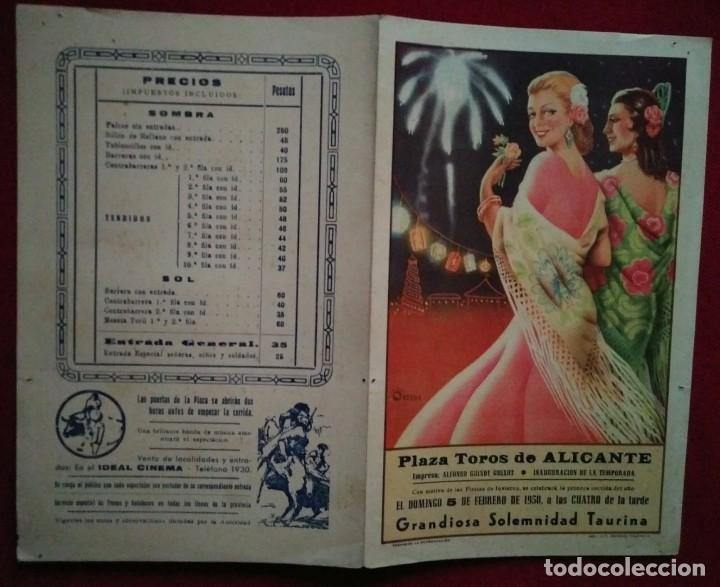 Tauromaquia: 1950 ALICANTE Díptico plaza de toros de ALICANTE 27,2 x 21 Programa de mano - Foto 2 - 115626787