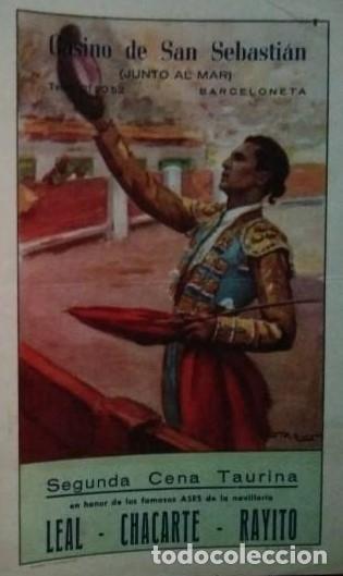 1953 CASINO DE SAN SEBASTIÁN Díptico cena Taurina 27,2 x 21 Programa de mano - carteles toros