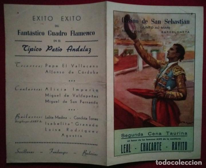 1953 CASINO DE SAN SEBASTIÁN Díptico cena Taurina 27,2 x 21 Programa de mano - carteles toros - 115626903