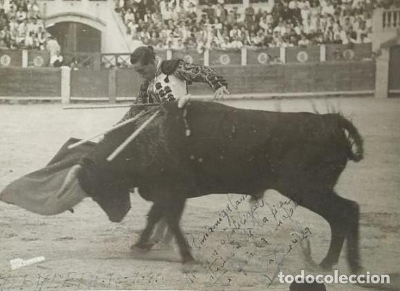 1941 ALBACETE. FOTOGRAFÍA TORERO DEDICADA Y FIRMADA. FOTÓGRAFO BALDOMERO. 18X24 CM (Coleccionismo - Tauromaquia)