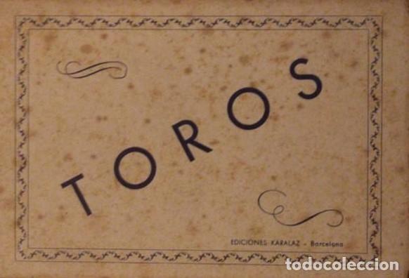 Tira de 9 postales. Corrida de toros. Ediciones karalaz. Barcelona. 15,5x92 cm