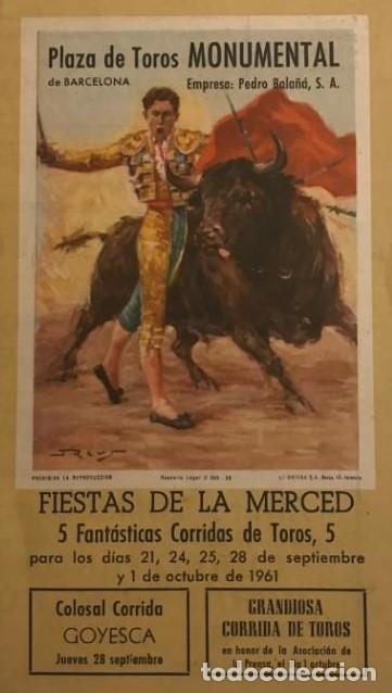 1961 PROGRAMA DE LAS FIESTAS DE LA MERCED PLAZA DE TOROS MONUMENTAL DE BARCELONA 12X21 CM (Coleccionismo - Tauromaquia)