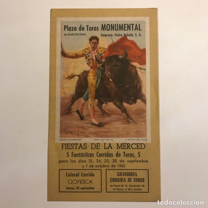 Tauromaquia: 1961 Programa de las fiestas de la Merced Plaza de toros Monumental de Barcelona 12x21 cm - Foto 2 - 148831806