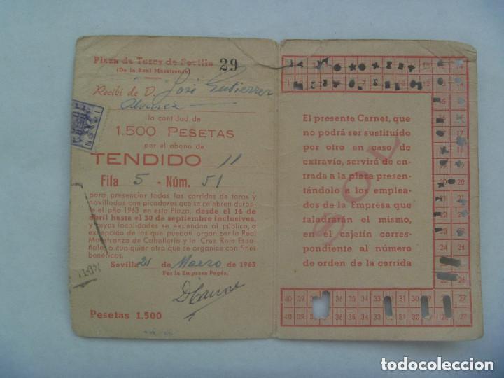 Tauromaquia: ENTRADA PLAZA DE TOROS DE SEVILLA ( REAL MAESTRANZA ) : ABONO TEMPORADA 1963 . TENDIDO. - Foto 2 - 153610798