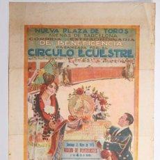 Tauromaquia: ANTIGUO CARTEL CORRIDA DE TOROS EN PLAZA ARENAS, BARCELONA - GALLO, GALLITO Y BELMONTE - AÑO 1915. Lote 153663262