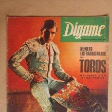 Tauromaquia: REVISTA DIGAME, EXTRAORDINARIO DE TOROS. 13 MARZO 1970. VER FOTOS ADICIONALES DE TODAS LAS PAGINAS.. Lote 153956286