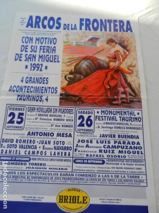 CARTEL DE TOROS PLAZA DE ARCOS. 25 Y 26 SEPTIEMBRE 1992. NOVILLADAS. GAN. ROMERO ROCA Y DOMECQ (Coleccionismo - Tauromaquia)