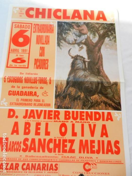 CARTEL DE TOROS PLAZA DE CHICLANA. NOVILLEROS ABEL OLIVA, M. SANCHEZ MEJIAS. 6 ABRIL 1991. (Coleccionismo - Tauromaquia)
