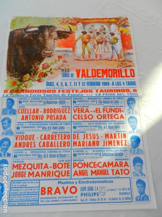 CARTEL DE TOROS PLAZA DE VALDEMORILLO. 4 5 6 7 11 Y 12 FEBREO 1989. MEDIDAS 70X50 CM. (Coleccionismo - Tauromaquia)