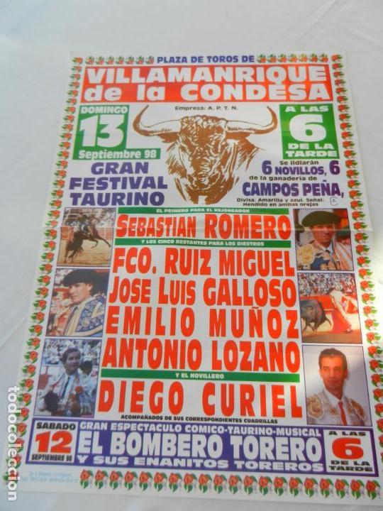 CARTEL DE TOROS PLAZA DE VILLAMANRIQUE DE LA CONDESA. 13 SEPTIEMBRE 1998. MEDIDAS 68X48,5 CM. (Coleccionismo - Tauromaquia)