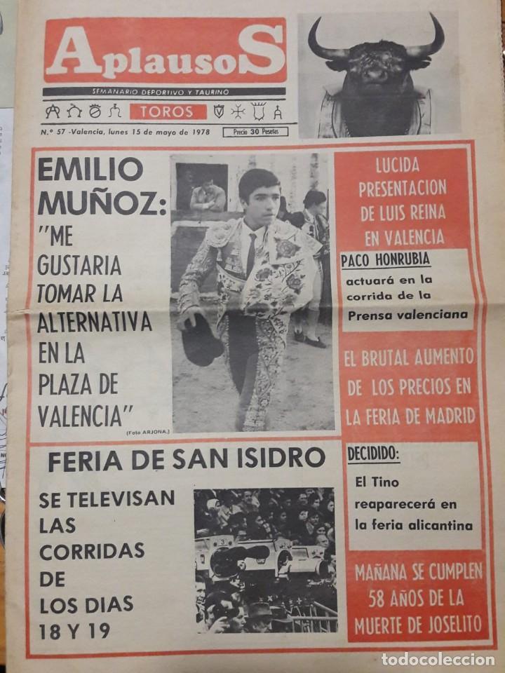 REVISTA APLAUSOS Nº 57. AÑO 1978 (Coleccionismo - Tauromaquia)