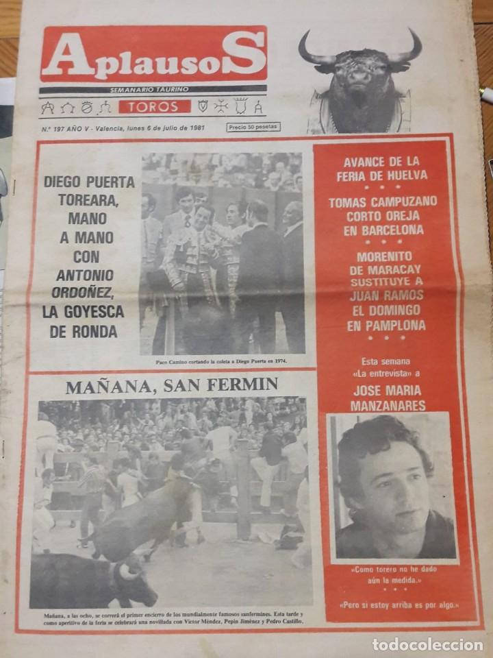 REVISTA APLAUSOS Nº 197. AÑO 1981 (Coleccionismo - Tauromaquia)