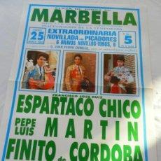 Tauromaquia: CARTEL DE TOROS PLAZA DE MARBELLA. GANAD. JUAN P. DOMECQ. PEPE L. MARTIN, FINITO,ESPARTACO CHICO.. Lote 156620022