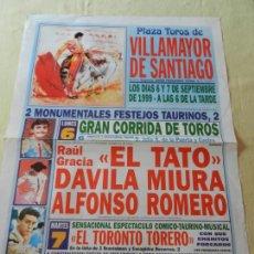 Tauromaquia: CARTEL DE TOROS PLAZA DE VILLAMAYOR DE SANTIAGO. 6 Y 7 DE SEPTIEMBRE 1999. EL TTO, DAVILA MIURA..... Lote 157942150