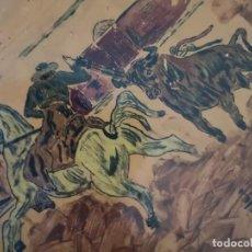 Tauromaquia: AZULEJO ESCENA TAURINA FIRMA J DIAZ 1965. Lote 158537126