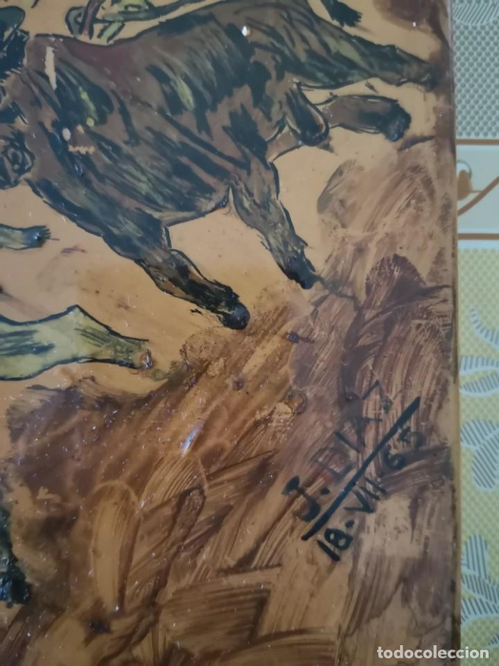 Tauromaquia: Azulejo escena taurina firma J Diaz 1965 - Foto 2 - 158537126